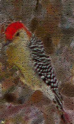Woodpecker Mixed Media - Craquelure Woodpecker by Debra     Vatalaro