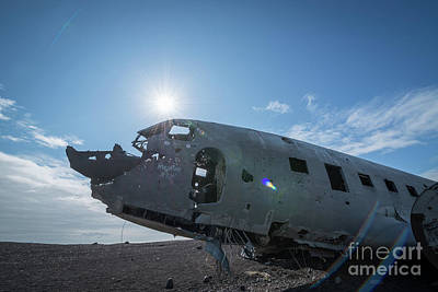 Abandoned Air Plane Photograph - Crashed Dc 3 Plane In Iceland  by Michael Ver Sprill