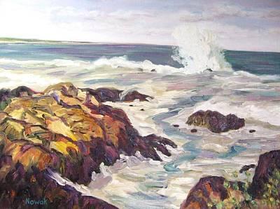 Maine Painting - Crashing Wave On Maine Coast by Richard Nowak