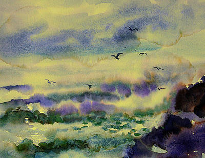Painting - Crashing Waves At Jetty With Birds 3-14-15 by Julianne Felton