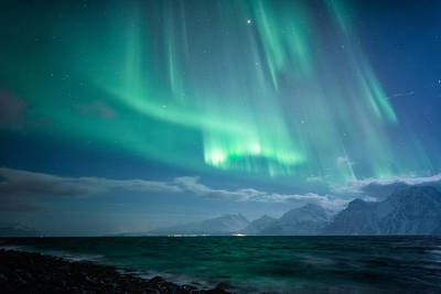 Aurora Photograph - Crashing Waves by Tor-Ivar Naess