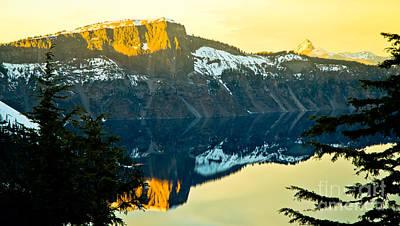 Mountain Reflection Lake Summit Mirror Photograph - Crater Lake 7 by Nick  Boren