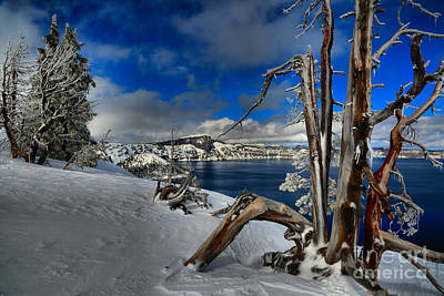 Deep Blue Photograph - Crater Lake Frosted Paradise by Adam Jewell