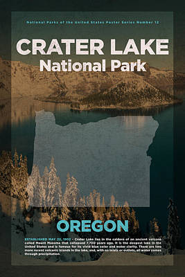 National Parks Mixed Media - Crater Lake National Park In Oregon Travel Poster Series Of National Parks Number 12 by Design Turnpike