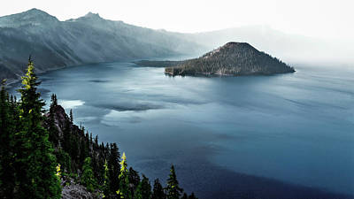 Crater Lake Under A Siege Print by Eduard Moldoveanu