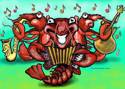 Crawdad Greeting Card - Crawfish Band by Kevin Middleton