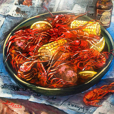 New Orleans Crawfish Painting - Crawfish Eatin' Time by Dianne Parks