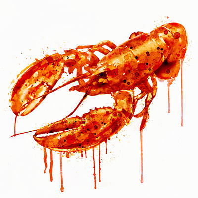 Crawfish Digital Art - Crawfish Watercolor Painting by Marian Voicu