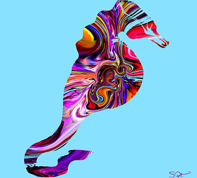 Seahorse Digital Art - Crazy Seahorse In Coral Colors 2 by Abstract Angel Artist Stephen K