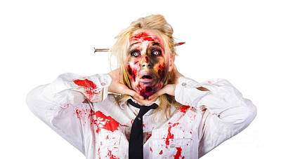 Crazy Zombie Business Woman In Struggle  Print by Jorgo Photography - Wall Art Gallery
