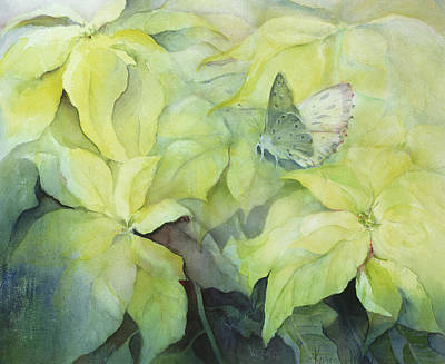 Fluttering Painting - Cream Poinsettia With Butterfly by Karen Armitage