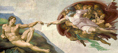 Sistine Painting - Creation Of Adam - Painted By Michelangelo by War Is Hell Store