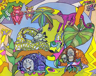 Orangutan Mixed Media - Creation Sleeping by Mary Sperling