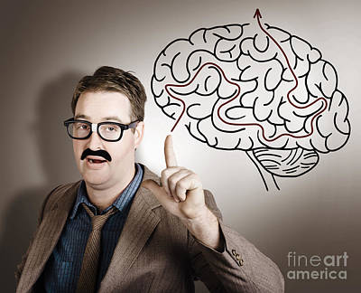 New Mind Photograph - Creative Man Thinking Up Brain Illustration Idea by Jorgo Photography - Wall Art Gallery