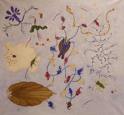 Plankton Painting - Creatures by Carol Faber Peake