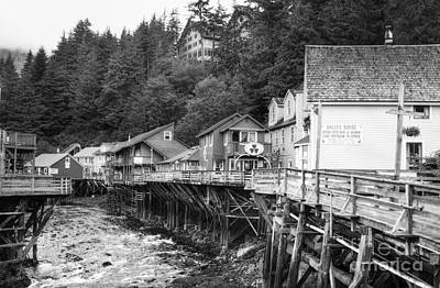 Creek Street In Ketchikan Bw Print by Mel Steinhauer
