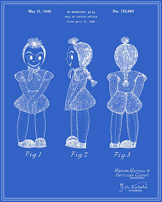 Creepy Digital Art - Creepy Doll Patent - Blueprint by Finlay McNevin