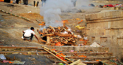 Cremation Ghat Photograph - Cremation by John And Laurel Rodgers