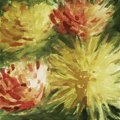 Floral Watercolor Painting - Cremon Mums by Beverly Brown Prints
