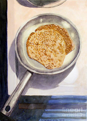 Olivia Painting - Crepe In Pan by Olivia Sementsova