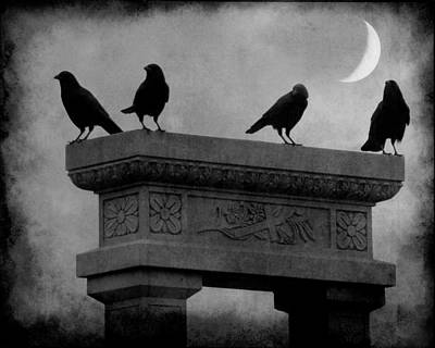 Crescent Moon And Crows Print by Gothicolors Donna Snyder