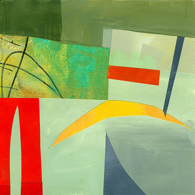 Abstract Collage Painting - Crescent Moon by Jane Davies