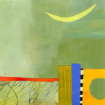 Abstract Collage Painting - Crescent Moon Number Two by Jane Davies