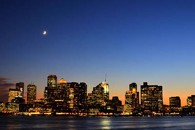Crescent Moon Over Boston At Dusk From East Boston Print by Toby McGuire