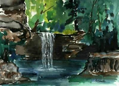 Painting - Cress' Waterfall by B L Qualls