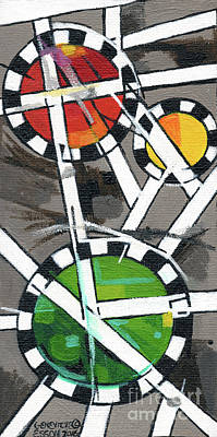 Painting - Creve Coeur Streetlight Banners Whimsical Motion 14 by Genevieve Esson