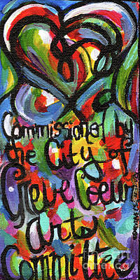 Painting - Creve Coeur Streetlight Banners Whimsical Motion 22 by Genevieve Esson