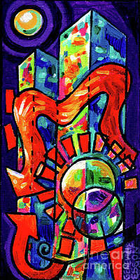 Painting - Creve Coeur Streetlight Banners Whimsical Motion 8 by Genevieve Esson