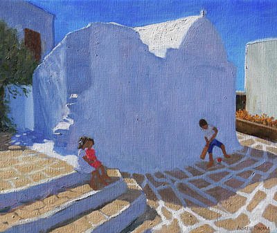 Batting Painting - Cricket By The Church Wall, Mykonos  by Andrew Macara