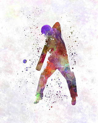 Cricket Painting - Cricket Player Batsman Silhouette 02 by Pablo Romero