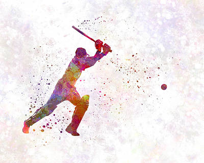 Cricket Painting - Cricket Player Batsman Silhouette 04 by Pablo Romero