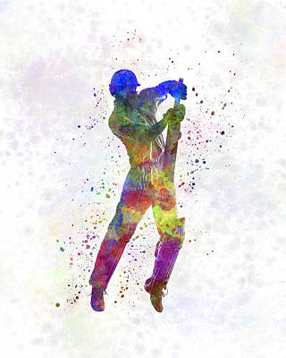 Cricket Painting - Cricket Player Batsman Silhouette 05 by Pablo Romero