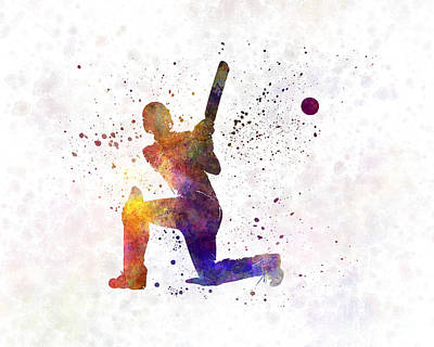 Cricket Painting - Cricket Player Batsman Silhouette 08 by Pablo Romero