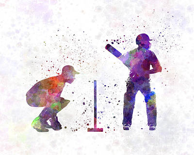 Cricket Painting - Cricket Player Silhouette by Pablo Romero