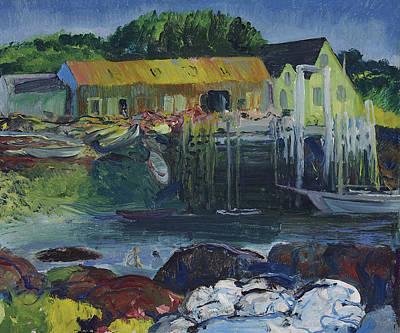Maine Painting - Criehaven Wharf by Mountain Dreams
