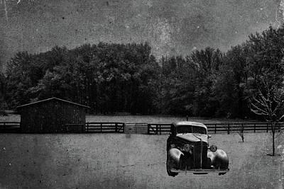 Car Photograph - Crimson Winter Antiqued Bw by Lesa Fine