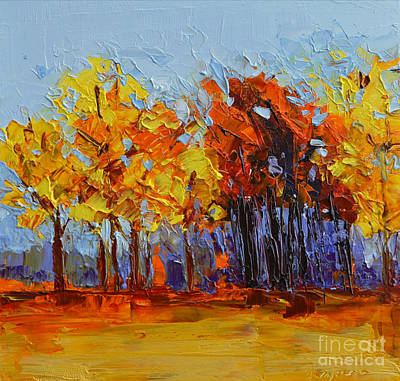 Crispy Autumn Day Landscape Forest Trees - Modern Impressionist Knife Palette Oil Painting Original by Patricia Awapara