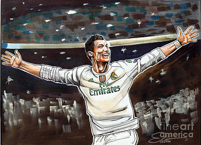 Cristiano Ronaldo Drawing - Cristiano Ronaldo Of Real Madrid by Dave Olsen