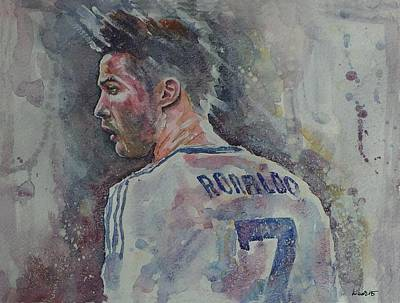 Cristiano Ronaldo Painting - Cristiano Ronaldo- Portrait 1 by Baresh Kebar - Kibar