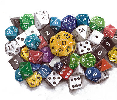 Dungeon Painting - Critical Hit Polyhedral Dice by Christine Leader