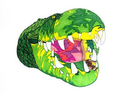 Python Drawing - Crocodile by Joe Richichi