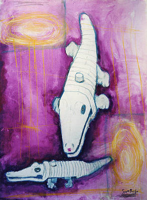 Crocodile Mixed Media - Crocodiles On Magenta by Scott Rolfe