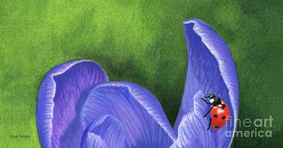 Crocus And Ladybug Detail Print by Sarah Batalka