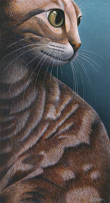 Of Cat Painting - Cropped Cat 3 by Carol Wilson