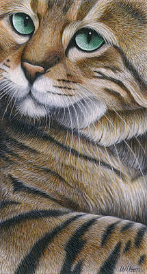 Of Cat Painting - Cropped Cat 6 by Carol Wilson