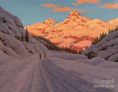 Winter Light Painting - Cross Country Skiing, Haute Savoie by Ivan Fedorovich Choultse